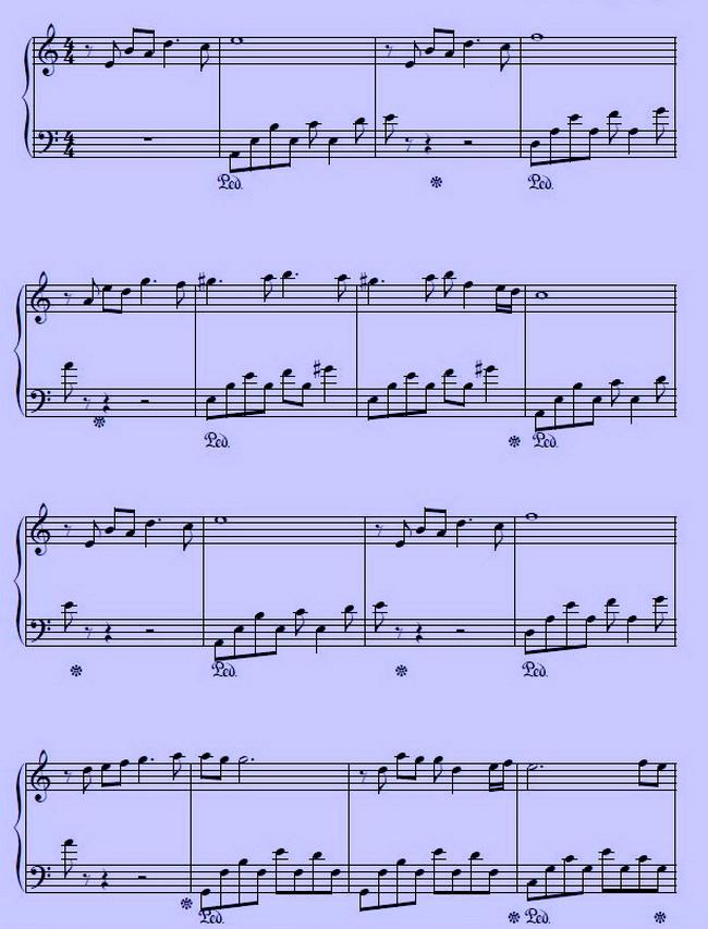 Долгая дорога в дюнах, ноты для фортепиано