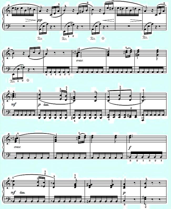 Л.в.бетховен к элизе ноты для фортепиано