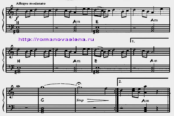Калинка Малинка Ноты Для Фортепиано