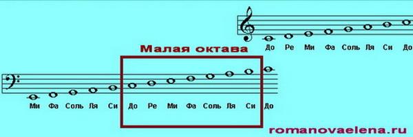 Ноты малой октавы, басовый ключ.