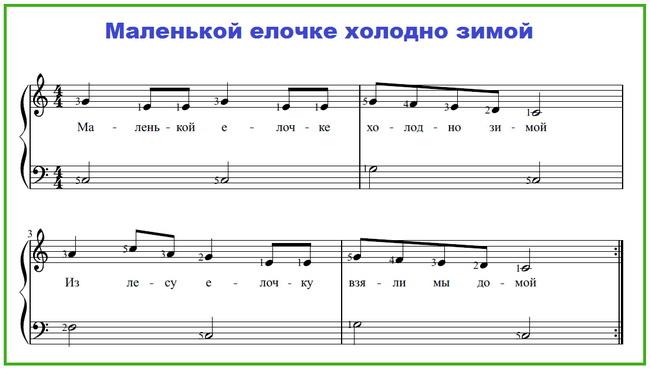 Маленькой елочке ноты для пианино